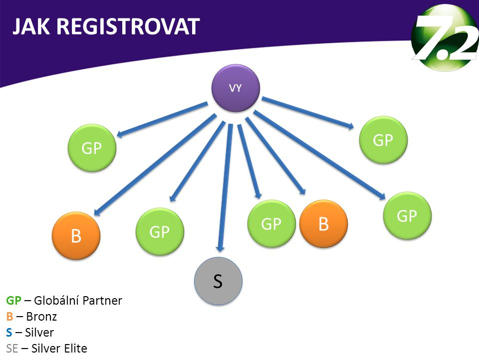 VY GP B B B B JAK REGISTROVAT S S GP – Globální Partner B – Bronz S – Silver SE – Silver Elite