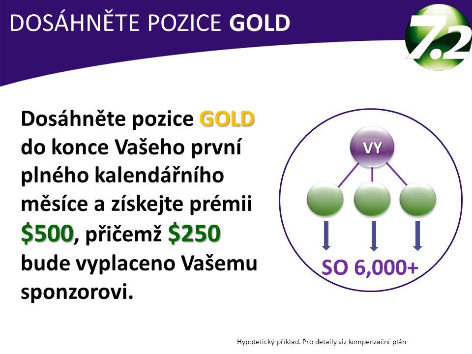 DOSÁHNĚTE POZICE GOLD Hypotetický příklad. Pro detaily viz kompenzační plán SO 6,000+ VYVYVYVY GOLD $500$250 Dosáhněte pozice GOLD do konce Vašeho prv