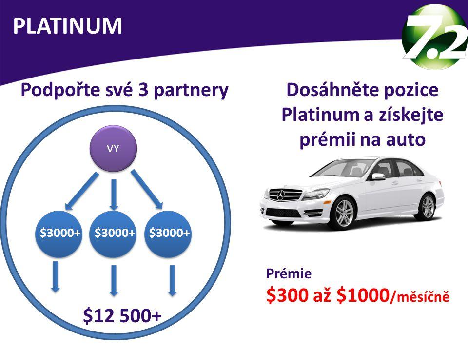 VY $12 500+ Podpořte své 3 partnery PLATINUM $3000+ Dosáhněte pozice Platinum a získejte prémii na auto Prémie $300 až $1000 /měsíčně