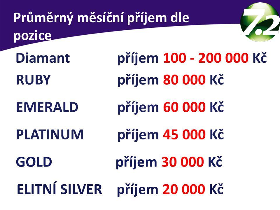 Průměrný měsíční příjem dle pozice ELITNÍ SILVER příjem 20 000 Kč GOLD příjem 30 000 Kč PLATINUM příjem 45 000 Kč EMERALD příjem 60 000 Kč RUBY příjem