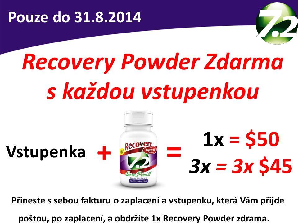 Recovery Powder Zdarma s každou vstupenkou Pouze do 31.8.2014 1x = $50 3x = 3x $45 = + Vstupenka Přineste s sebou fakturu o zaplacení a vstupenku, kte