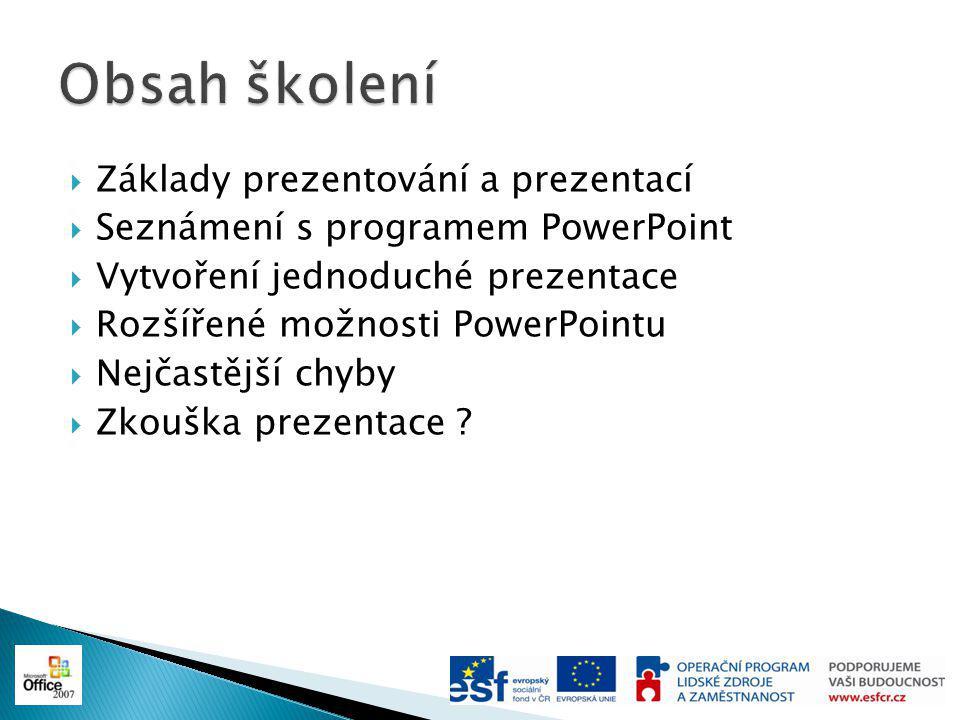  Základy prezentování a prezentací  Seznámení s programem PowerPoint  Vytvoření jednoduché prezentace  Rozšířené možnosti PowerPointu  Nejčastější chyby  Zkouška prezentace ?