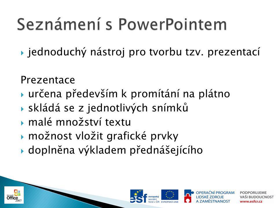 Základní obrazovka PowerPointu  Pás karet  Seznam snímků/osnova  Aktuální snímek  Prostor pro poznámky
