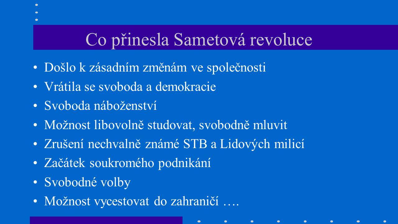 Co přinesla Sametová revoluce Došlo k zásadním změnám ve společnosti Vrátila se svoboda a demokracie Svoboda náboženství Možnost libovolně studovat, s