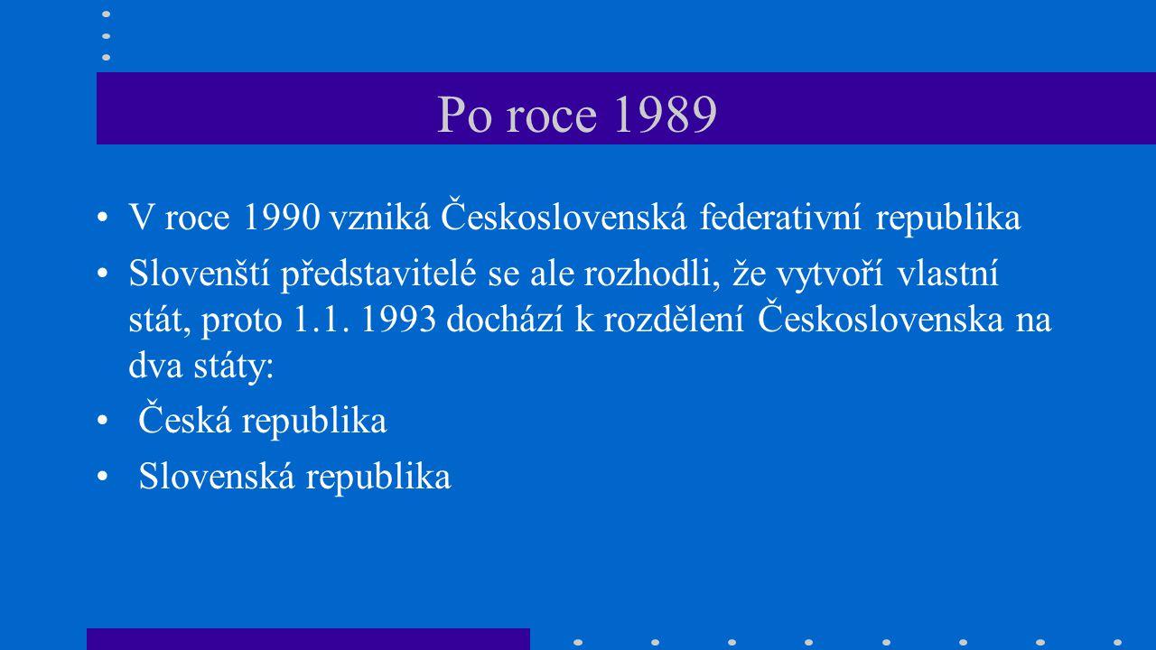 Po roce 1989 V roce 1990 vzniká Československá federativní republika Slovenští představitelé se ale rozhodli, že vytvoří vlastní stát, proto 1.1. 1993