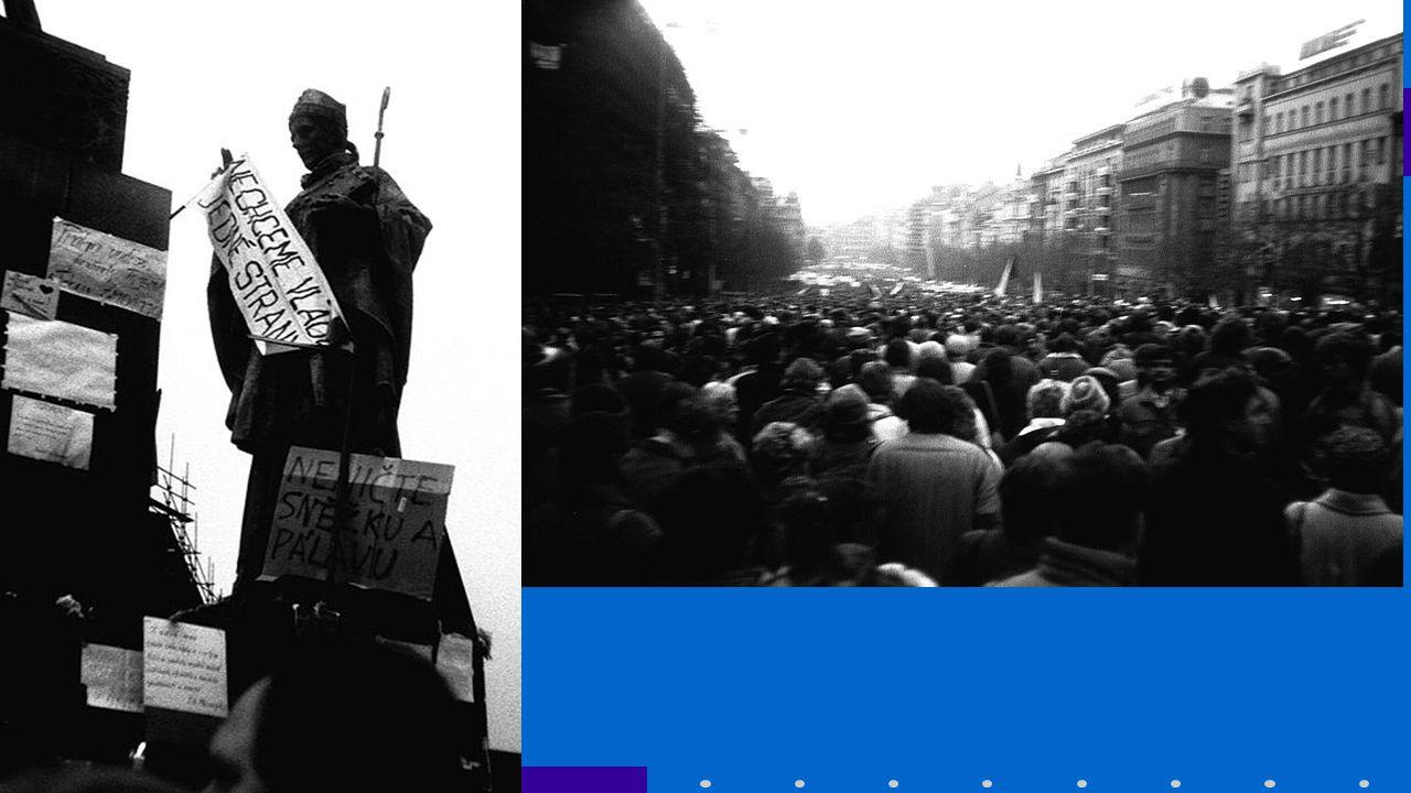 Pád režimu Zpočátku komunistický režim zvažoval potlačení odporu Vzhledem k celostátní velikosti neměli na výběr -> komunistický režim se zhroutil KSČM se vzdala vedoucí funkce ve společnosti, dosavadní prezident Gustav Husák abdikoval 29.