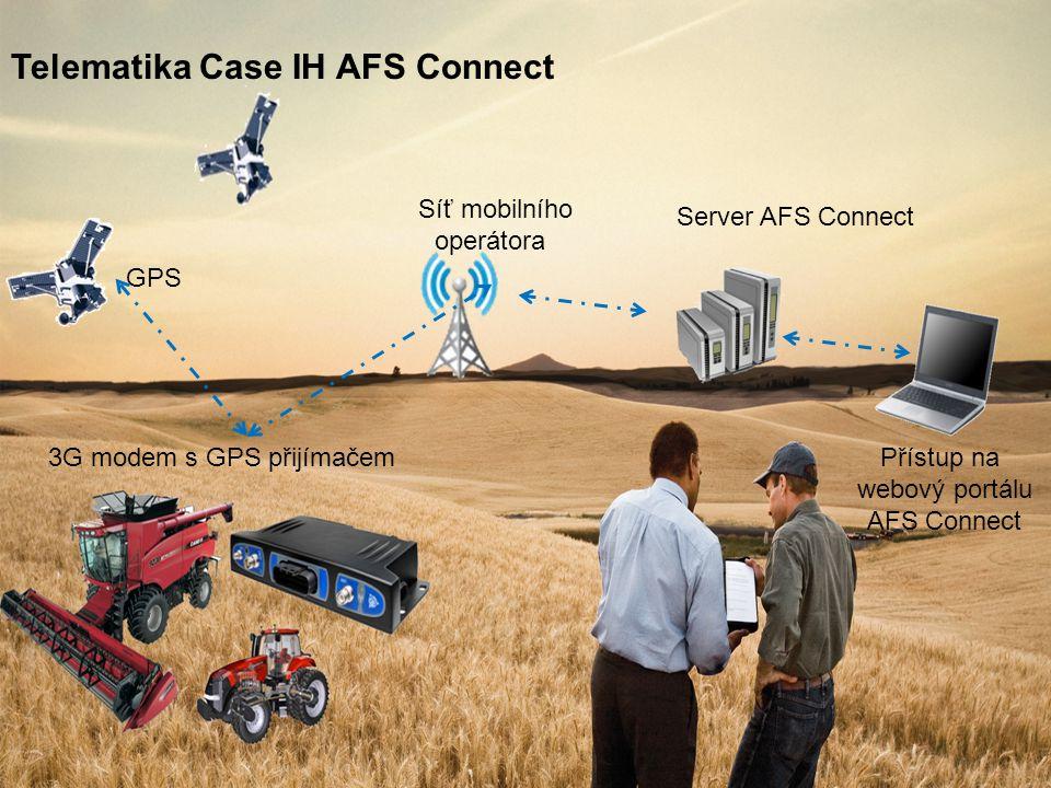 GPS Síť mobilního operátora Server AFS Connect Přístup na webový portálu AFS Connect Telematika Case IH AFS Connect 3G modem s GPS přijímačem