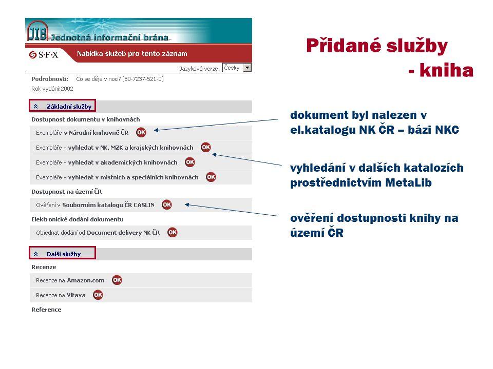 Přidané služby - kniha dokument byl nalezen v el.katalogu NK ČR – bázi NKC vyhledání v dalších katalozích prostřednictvím MetaLib ověření dostupnosti knihy na území ČR