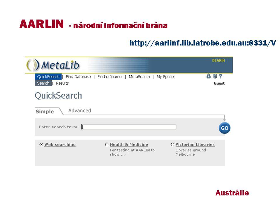 Austrálie AARLIN - národní informační brána http://aarlinf.lib.latrobe.edu.au:8331/V
