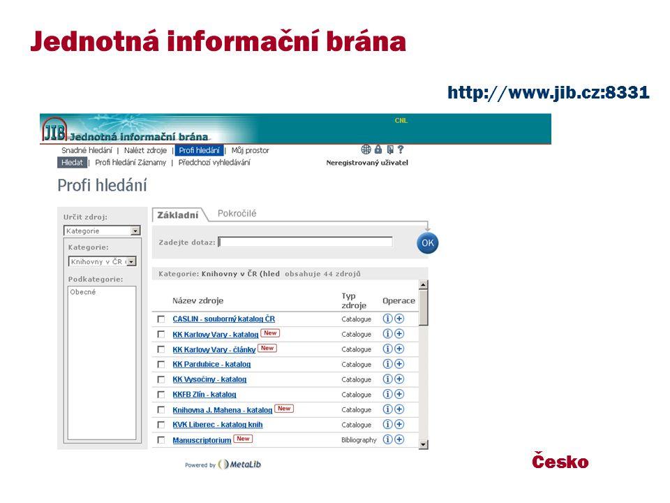 Česko Jednotná informační brána http://www.jib.cz:8331