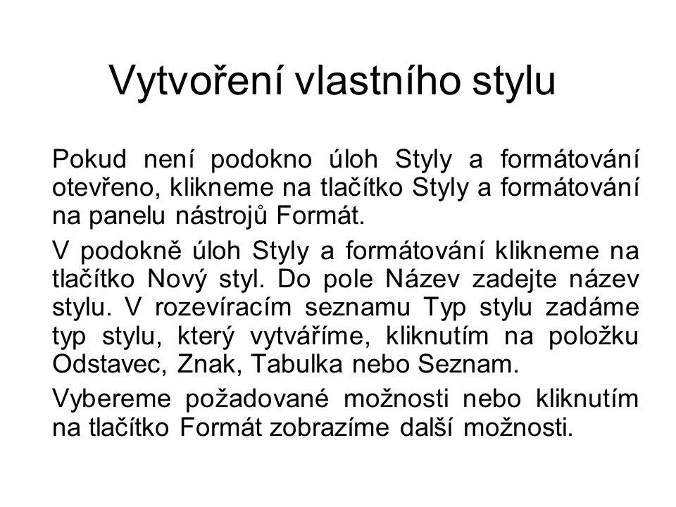Vytvoření vlastního stylu Word nabízí mnoho druhů stylů, ale zároveň nám umožňuje vytvářet vlastní styly.