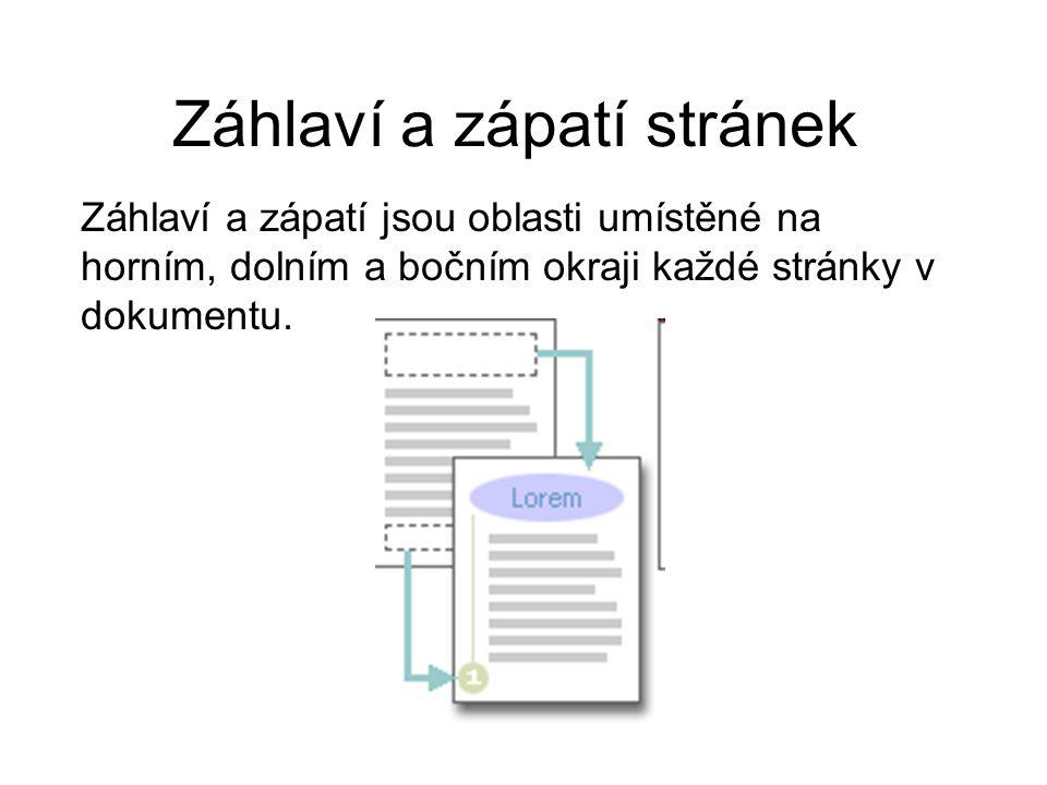 Záhlaví a zápatí stránek Záhlaví a zápatí jsou oblasti umístěné na horním, dolním a bočním okraji každé stránky v dokumentu.
