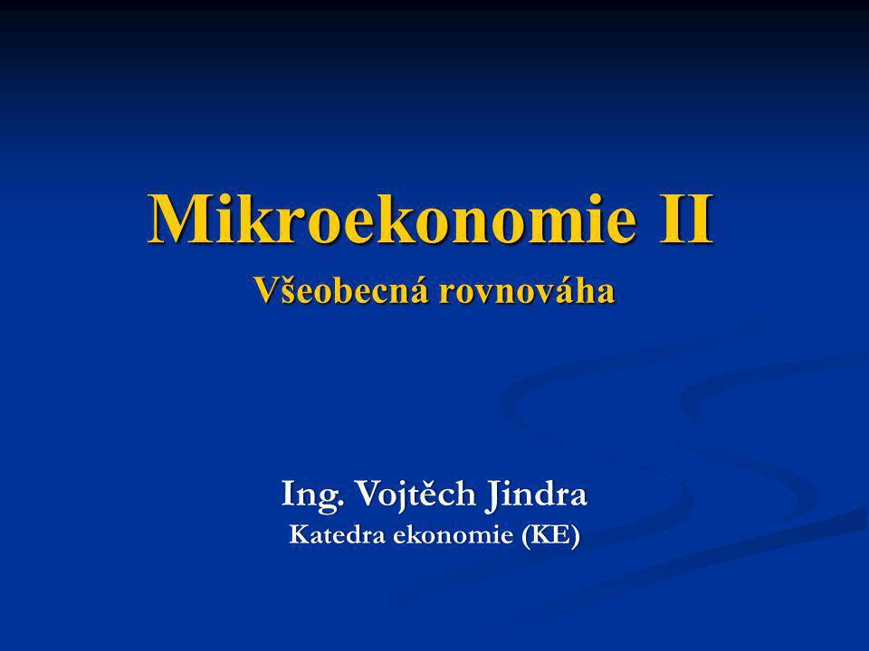 Všeobecná rovnováha Ing. Vojtěch JindraIng. Vojtěch Jindra Katedra ekonomie (KE)Katedra ekonomie (KE) Mikroekonomie II