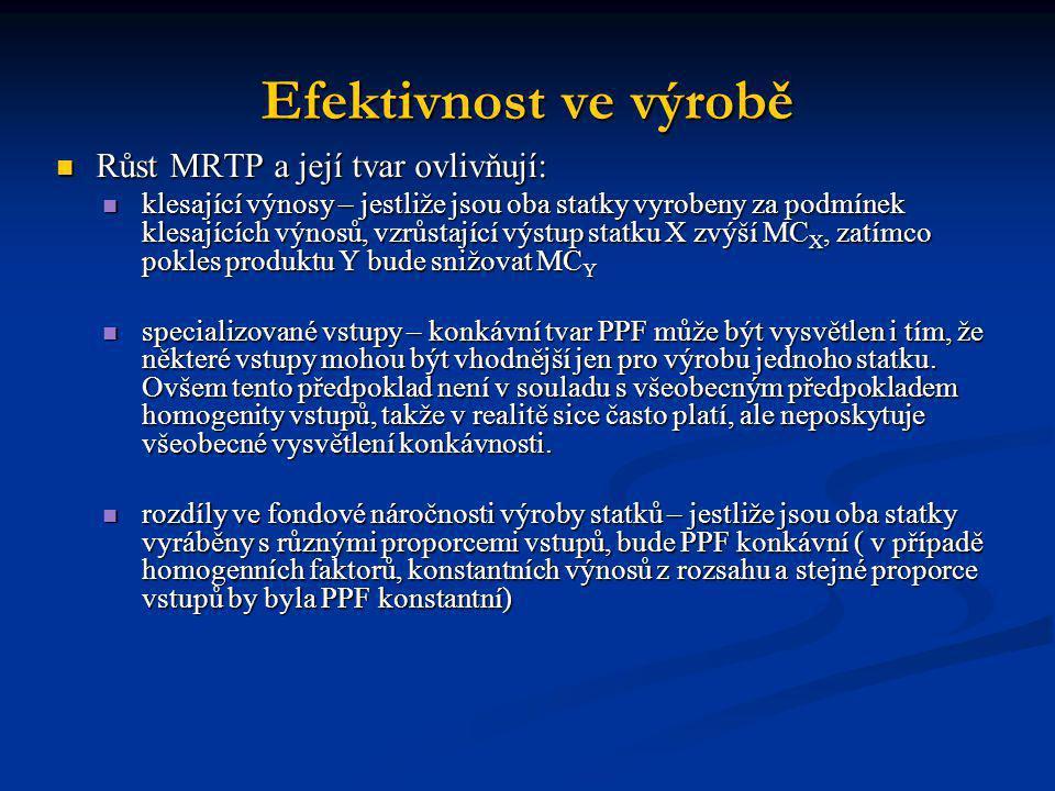 Efektivnost ve výrobě Růst MRTP a její tvar ovlivňují: Růst MRTP a její tvar ovlivňují: klesající výnosy – jestliže jsou oba statky vyrobeny za podmín