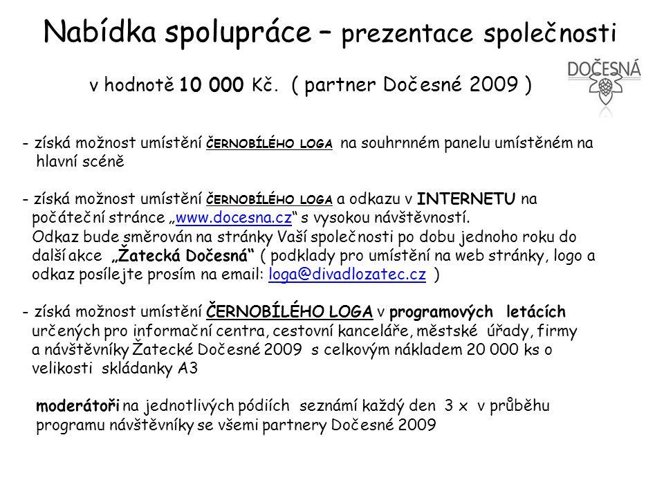 Nabídka spolupráce – prezentace společnosti v hodnotě 10 000 Kč.