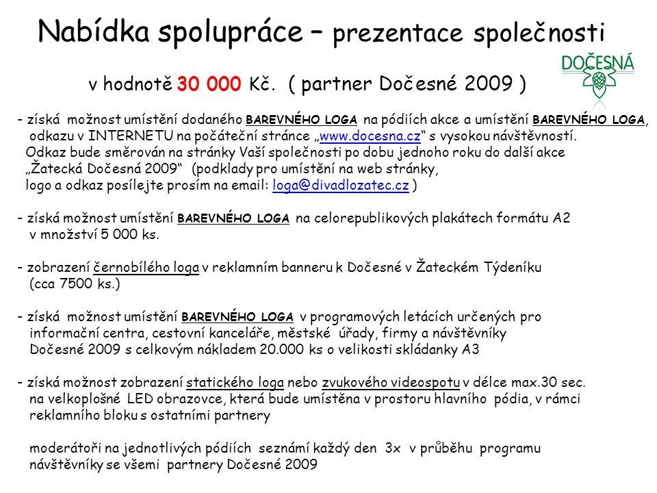 Nabídka spolupráce – prezentace společnosti v hodnotě 30 000 Kč.