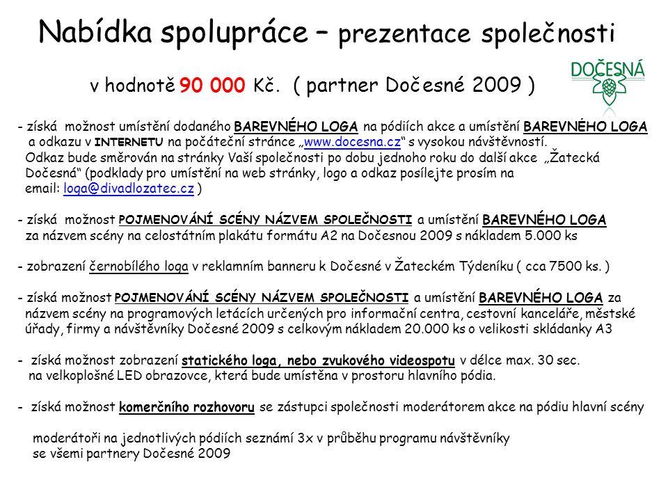 Nabídka spolupráce – prezentace společnosti v hodnotě 90 000 Kč.
