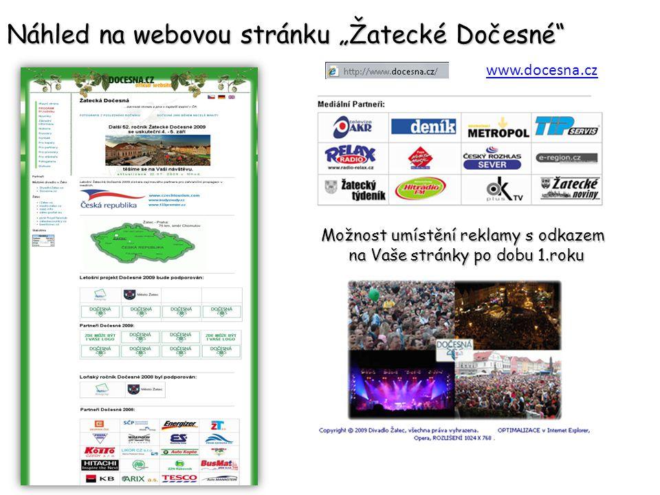 Nabídka spolupráce – prezentace společnosti HLAVNÍ scény Dočesné 2009 v hodnotě 120 000 Kč.