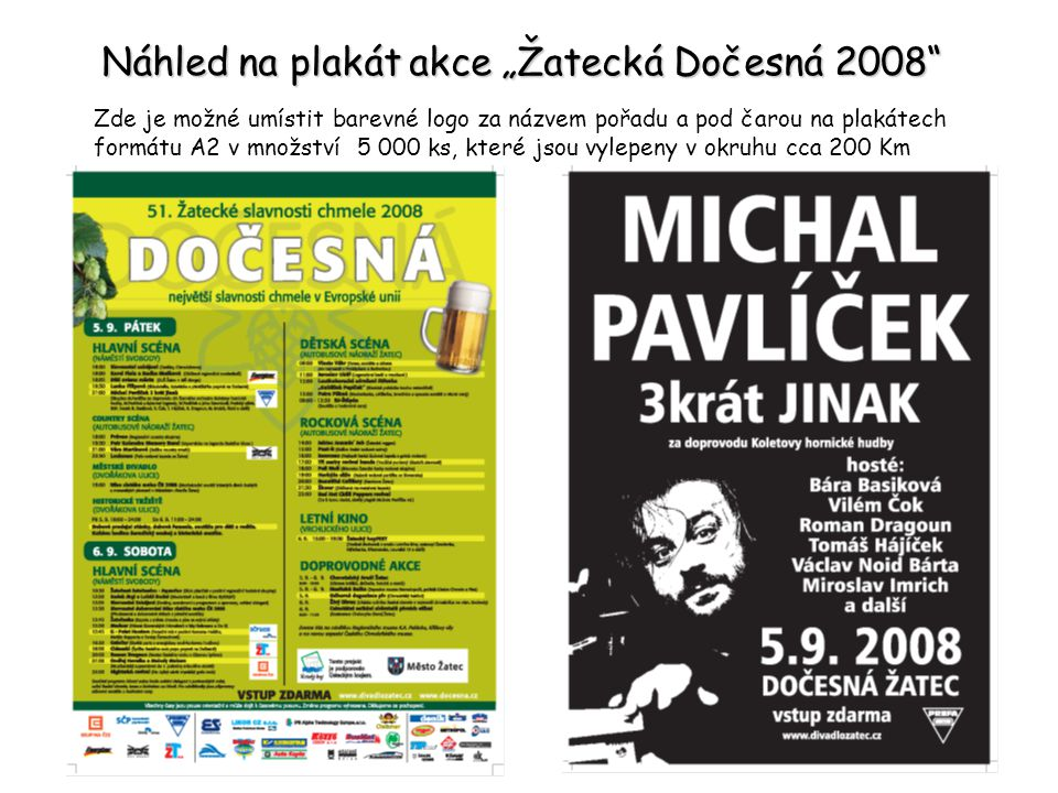 Nabídka spolupráce – prezentace společnosti GENERÁLNÍ Dočesné 2009 v hodnotě 200 000 Kč.