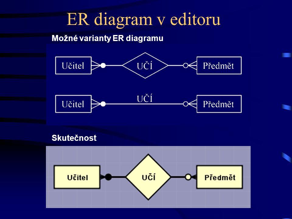 ER diagram v editoru Skutečnost Možné varianty ER diagramu