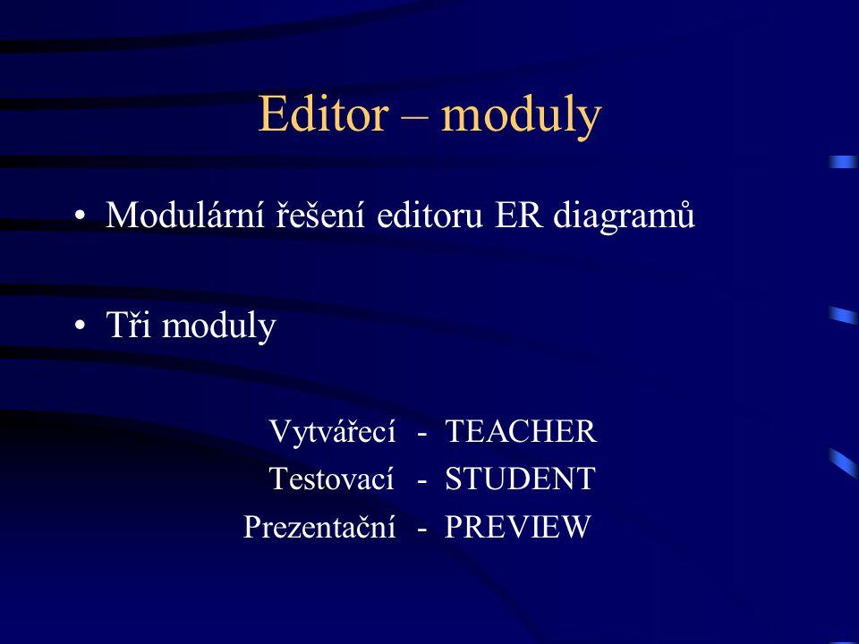 Editor – moduly Modulární řešení editoru ER diagramů Tři moduly Vytvářecí- TEACHER Testovací- STUDENT Prezentační- PREVIEW