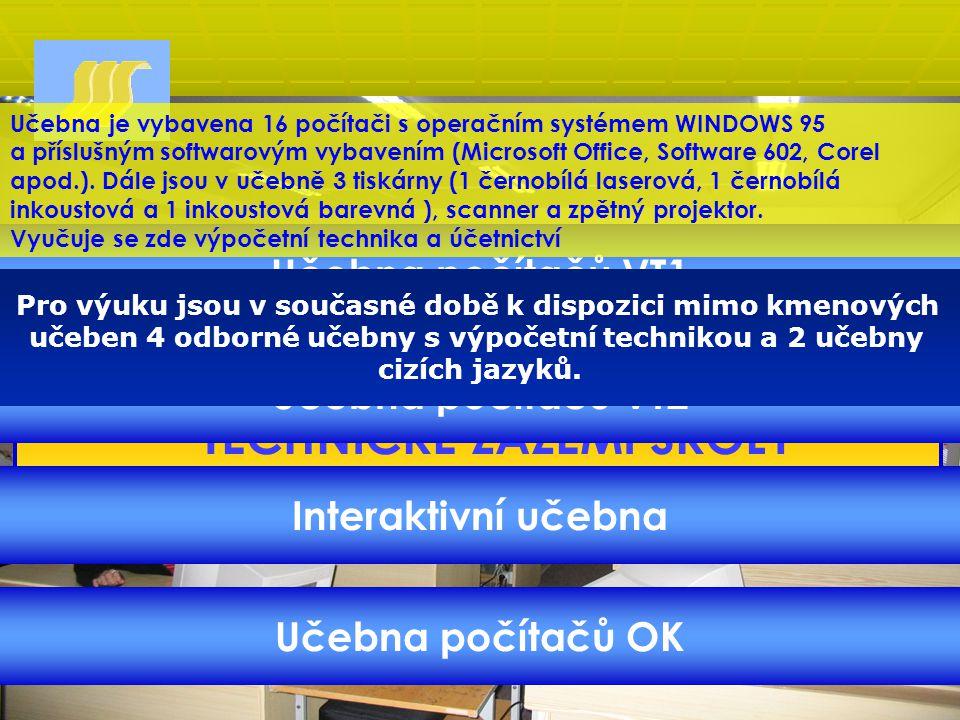 TECHNICKÉ ZÁZEMÍ ŠKOLY Učebna počítačů VT1 Učebna počítačů VT2 Interaktivní učebna Učebna počítačů OK Pro výuku jsou v současné době k dispozici mimo