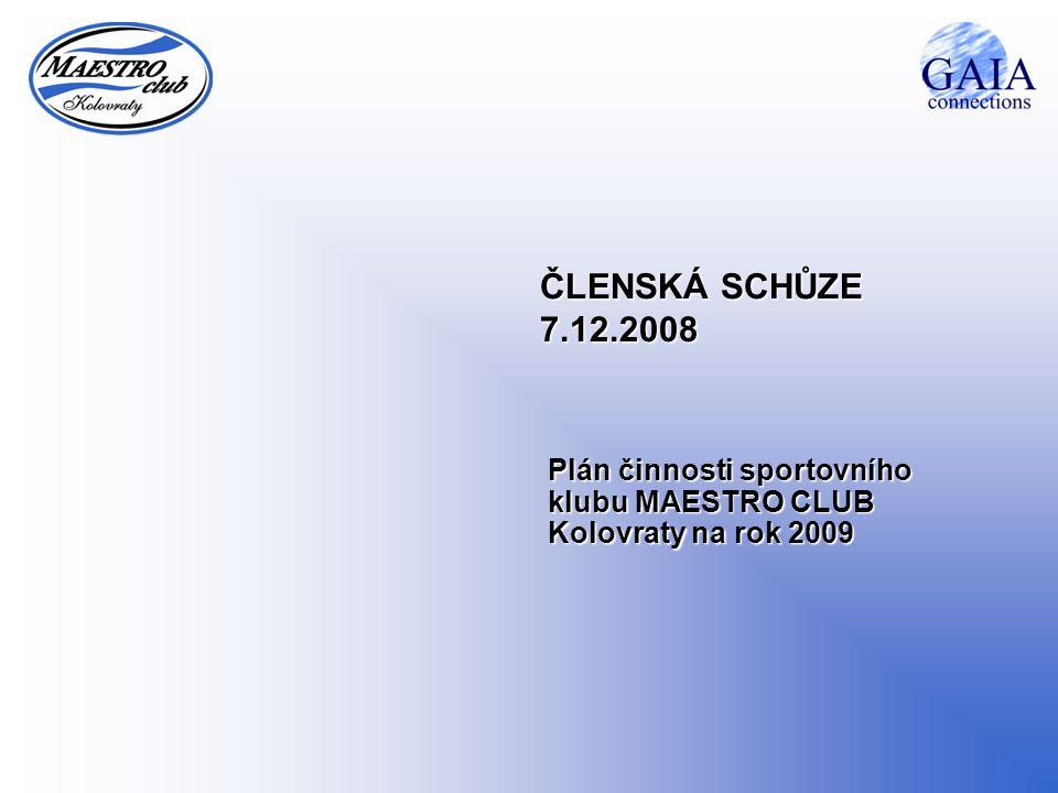 ČLENSKÁ SCHŮZE 7.12.2008 Plán činnosti sportovního klubu MAESTRO CLUB Kolovraty na rok 2009