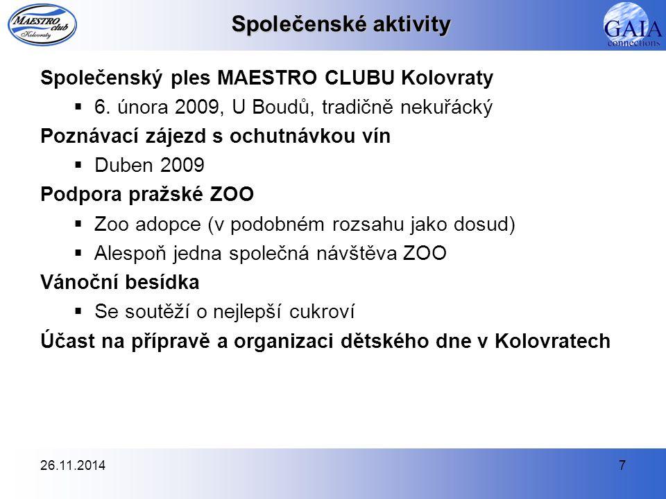 26.11.20147 Společenské aktivity Společenský ples MAESTRO CLUBU Kolovraty  6.