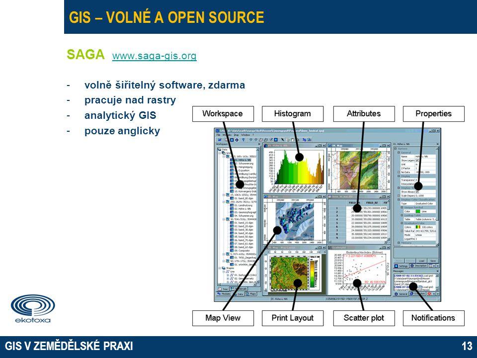 GIS V ZEMĚDĚLSKÉ PRAXI13 GIS – VOLNÉ A OPEN SOURCE SAGA www.saga-gis.org www.saga-gis.org -volně šiřitelný software, zdarma -pracuje nad rastry -analytický GIS -pouze anglicky