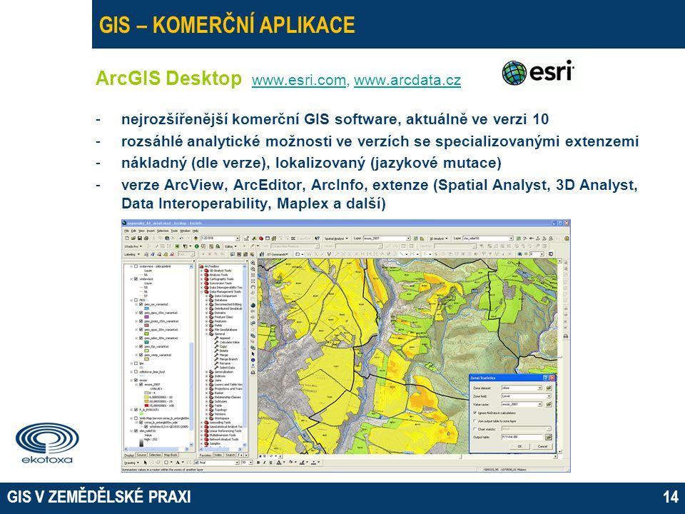 GIS V ZEMĚDĚLSKÉ PRAXI14 GIS – KOMERČNÍ APLIKACE ArcGIS Desktop www.esri.com, www.arcdata.cz www.esri.comwww.arcdata.cz -nejrozšířenější komerční GIS software, aktuálně ve verzi 10 -rozsáhlé analytické možnosti ve verzích se specializovanými extenzemi -nákladný (dle verze), lokalizovaný (jazykové mutace) -verze ArcView, ArcEditor, ArcInfo, extenze (Spatial Analyst, 3D Analyst, Data Interoperability, Maplex a další)