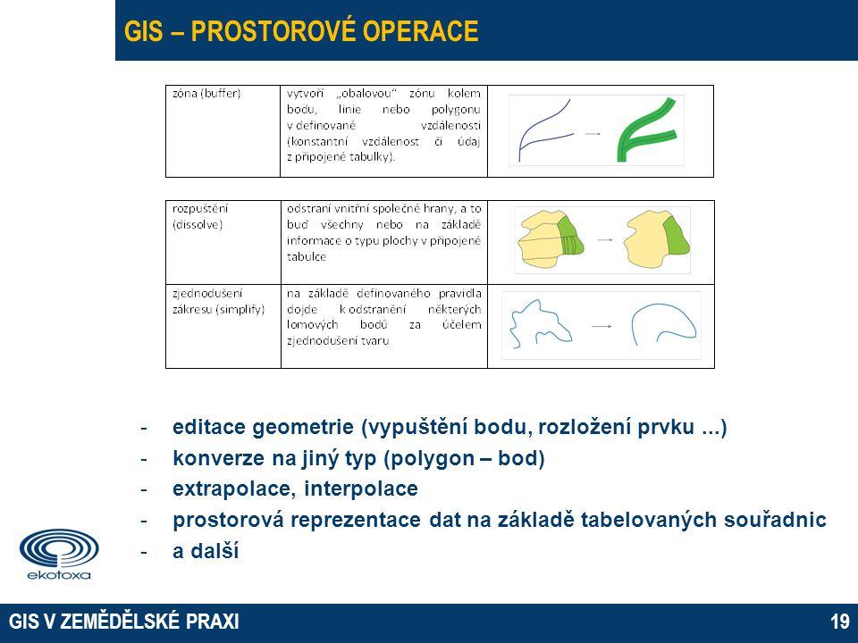 GIS V ZEMĚDĚLSKÉ PRAXI19 GIS – PROSTOROVÉ OPERACE -editace geometrie (vypuštění bodu, rozložení prvku...) -konverze na jiný typ (polygon – bod) -extrapolace, interpolace -prostorová reprezentace dat na základě tabelovaných souřadnic -a další