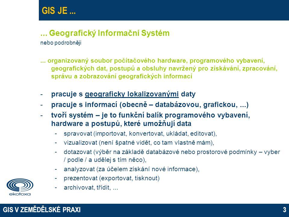 GIS V ZEMĚDĚLSKÉ PRAXI3 GIS JE...... Geografický Informační Systém nebo podrobněji... organizovaný soubor počítačového hardware, programového vybavení