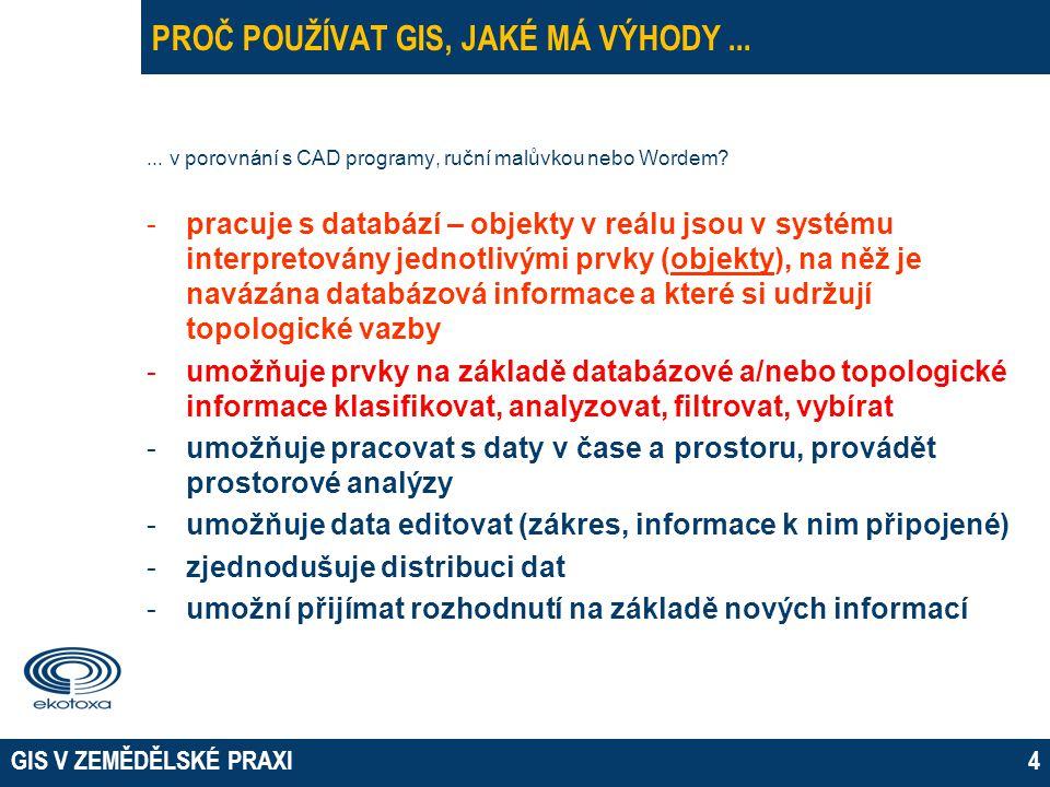 GIS V ZEMĚDĚLSKÉ PRAXI4 PROČ POUŽÍVAT GIS, JAKÉ MÁ VÝHODY...... v porovnání s CAD programy, ruční malůvkou nebo Wordem? -pracuje s databází – objekty