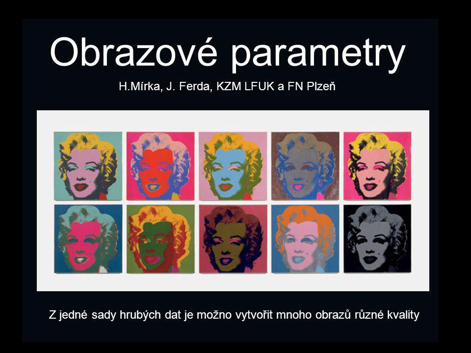 Obrazové parametry Z jedné sady hrubých dat je možno vytvořit mnoho obrazů různé kvality H.Mírka, J. Ferda, KZM LFUK a FN Plzeň