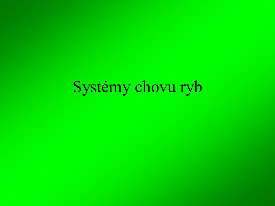 Rozdělení systému chovů podle přítoku a využití vody 1.Průtočné systémy 2.Systémy recirkulační 3.Klecové systémy