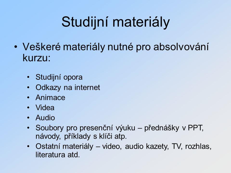 Studijní materiály Veškeré materiály nutné pro absolvování kurzu: Studijní opora Odkazy na internet Animace Videa Audio Soubory pro presenční výuku –