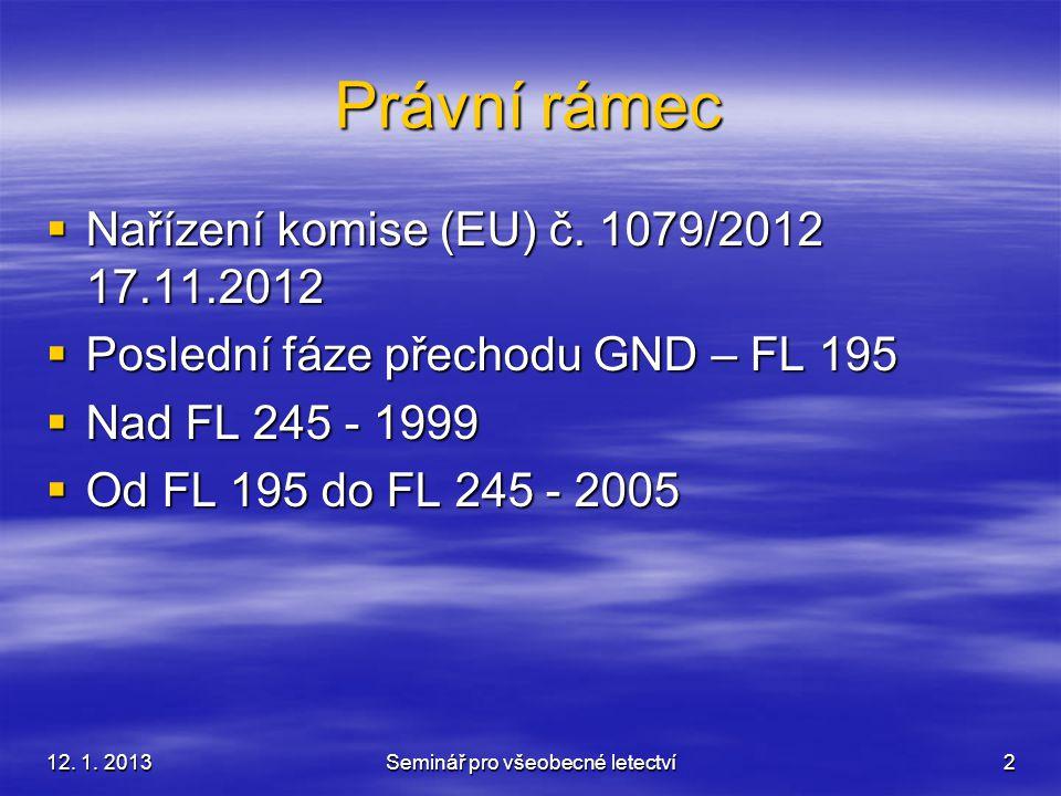 12. 1. 2013Seminář pro všeobecné letectví2 Právní rámec  Nařízení komise (EU) č. 1079/2012 17.11.2012  Poslední fáze přechodu GND – FL 195  Nad FL
