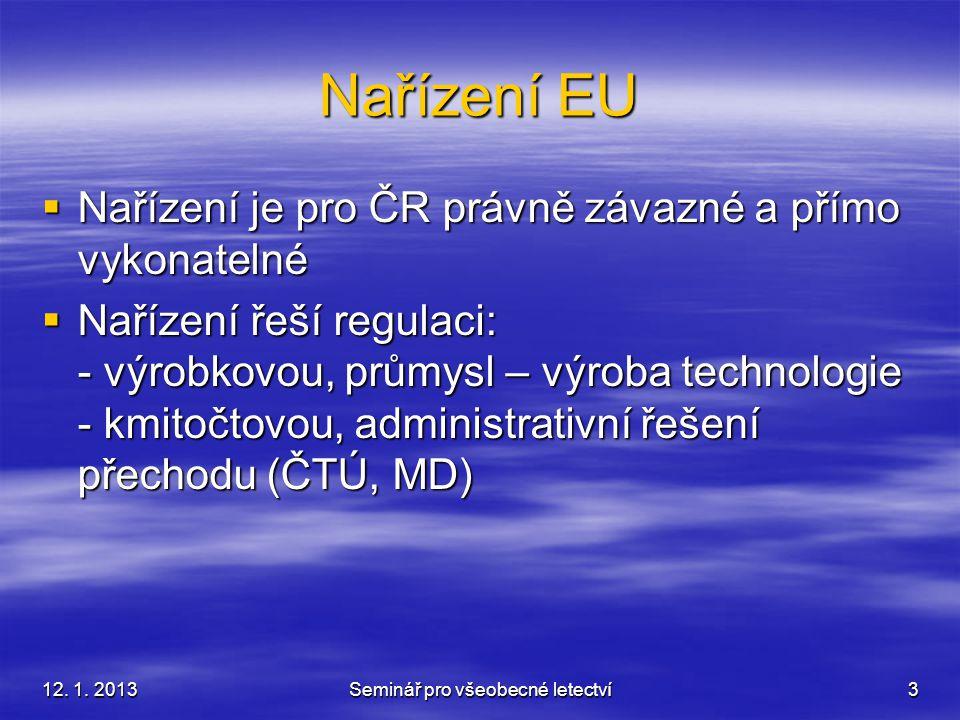 12. 1. 2013Seminář pro všeobecné letectví3 Nařízení EU  Nařízení je pro ČR právně závazné a přímo vykonatelné  Nařízení řeší regulaci: - výrobkovou,