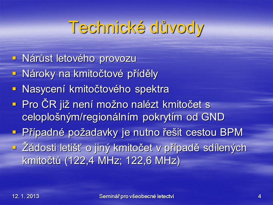 12. 1. 2013Seminář pro všeobecné letectví4 Technické důvody  Nárůst letového provozu  Nároky na kmitočtové příděly  Nasycení kmitočtového spektra 