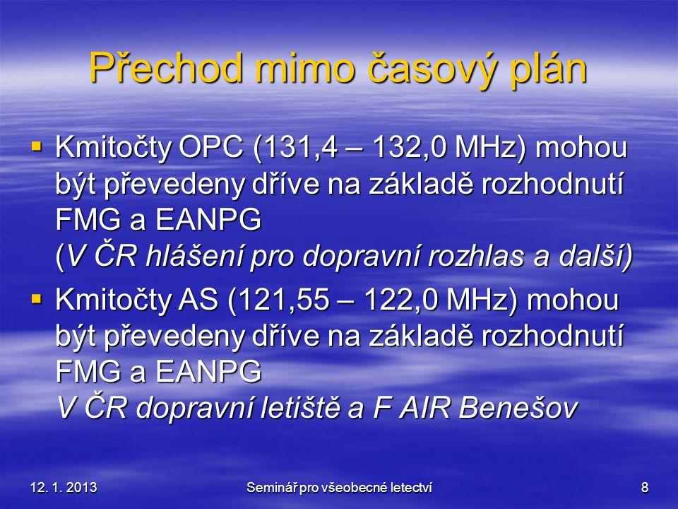 12. 1. 2013Seminář pro všeobecné letectví8 Přechod mimo časový plán  Kmitočty OPC (131,4 – 132,0 MHz) mohou být převedeny dříve na základě rozhodnutí