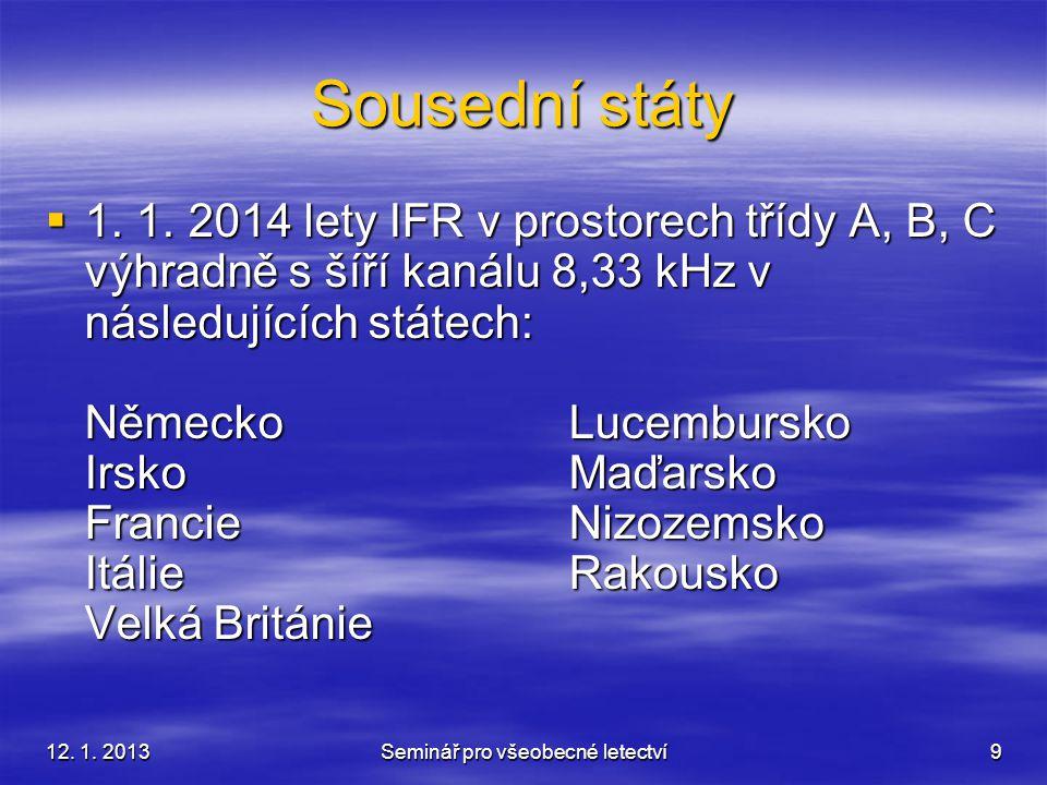 12. 1. 2013Seminář pro všeobecné letectví9 Sousední státy  1. 1. 2014 lety IFR v prostorech třídy A, B, C výhradně s šíří kanálu 8,33 kHz v následují