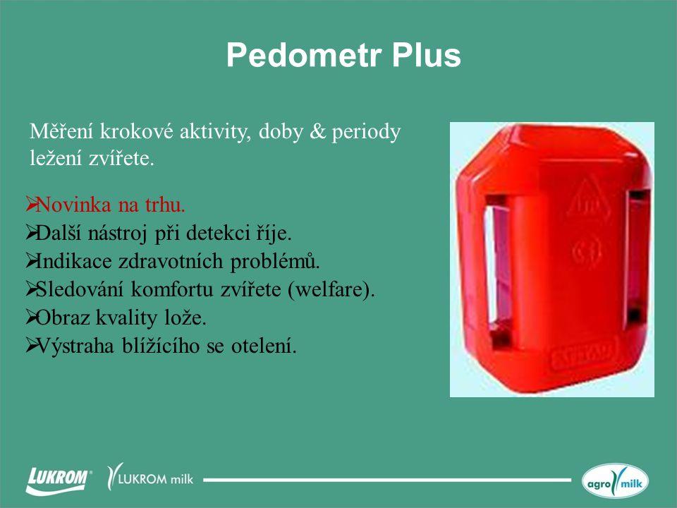 Pedometr Plus Měření krokové aktivity, doby & periody ležení zvířete.  Novinka na trhu.  Další nástroj při detekci říje.  Indikace zdravotních prob