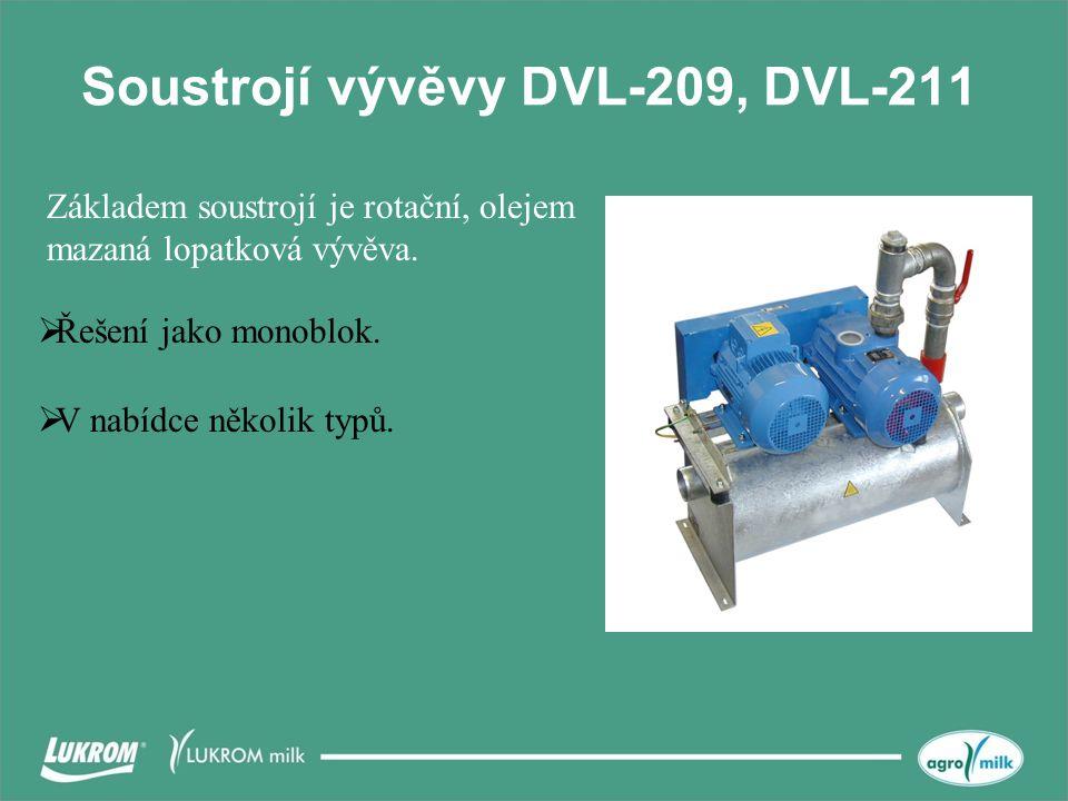 Soustrojí vývěvy DVL-209, DVL-211  Řešení jako monoblok.  V nabídce několik typů. Základem soustrojí je rotační, olejem mazaná lopatková vývěva.
