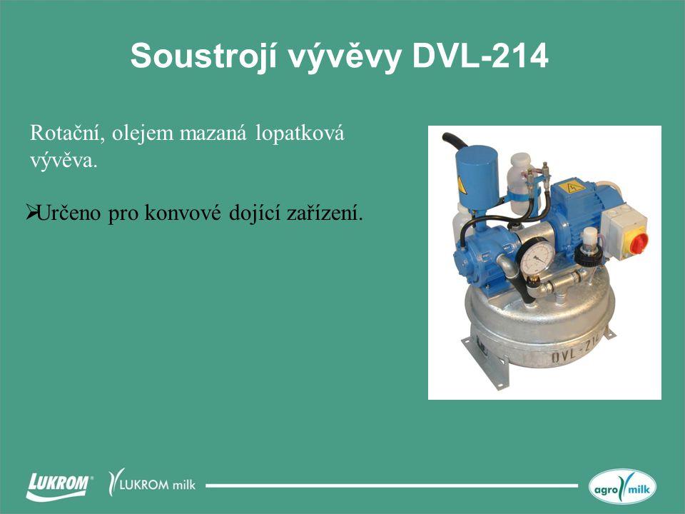 Soustrojí vývěvy DVL-214  Určeno pro konvové dojící zařízení. Rotační, olejem mazaná lopatková vývěva.