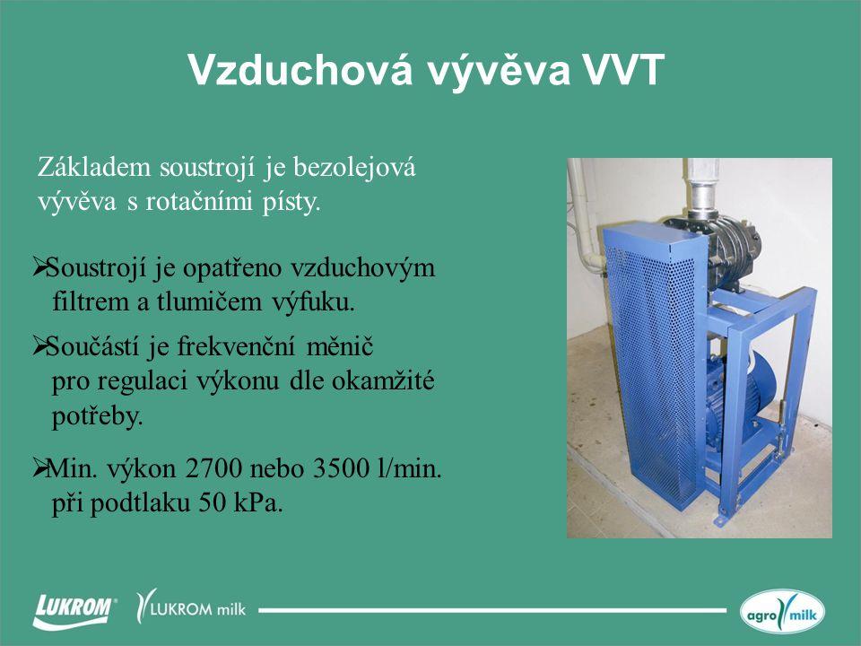 Vzduchová vývěva VVT  Soustrojí je opatřeno vzduchovým filtrem a tlumičem výfuku.  Součástí je frekvenční měnič pro regulaci výkonu dle okamžité pot