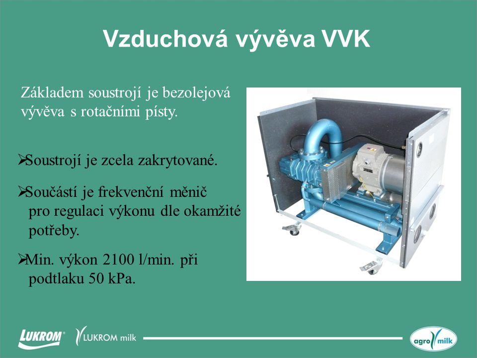 Vzduchová vývěva VVK  Soustrojí je zcela zakrytované. Základem soustrojí je bezolejová vývěva s rotačními písty.  Min. výkon 2100 l/min. při podtlak