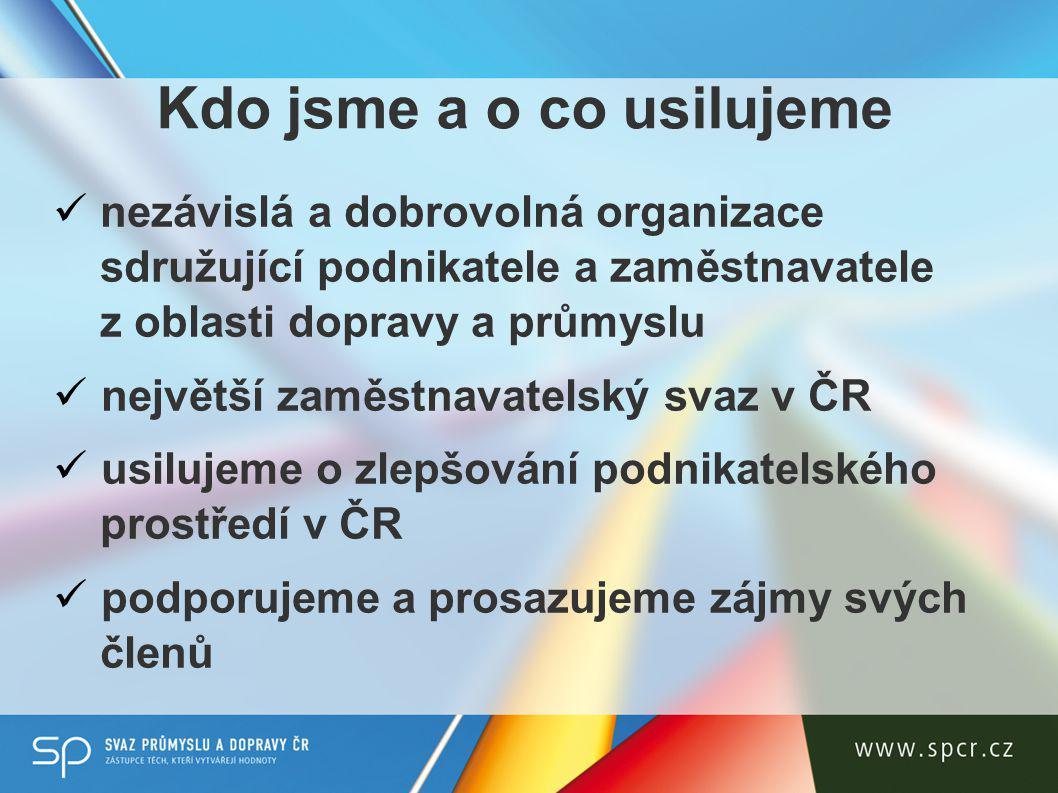 Kdo jsme a o co usilujeme nezávislá a dobrovolná organizace sdružující podnikatele a zaměstnavatele z oblasti dopravy a průmyslu největší zaměstnavatelský svaz v ČR usilujeme o zlepšování podnikatelského prostředí v ČR podporujeme a prosazujeme zájmy svých členů