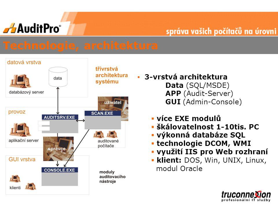 Technologie, architektura  3-vrstvá architektura Data (SQL/MSDE) APP (Audit-Server) GUI (Admin-Console)  více EXE modulů  škálovatelnost 1-10tis.