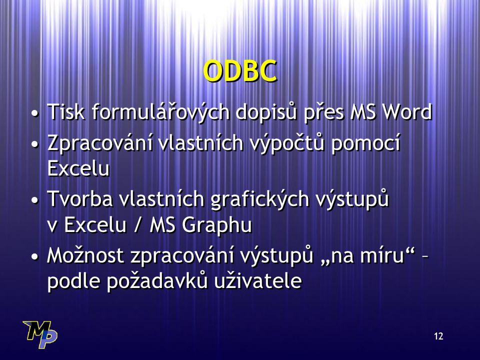 """12 ODBC Tisk formulářových dopisů přes MS Word Zpracování vlastních výpočtů pomocí Excelu Tvorba vlastních grafických výstupů v Excelu / MS Graphu Možnost zpracování výstupů """"na míru – podle požadavků uživatele Tisk formulářových dopisů přes MS Word Zpracování vlastních výpočtů pomocí Excelu Tvorba vlastních grafických výstupů v Excelu / MS Graphu Možnost zpracování výstupů """"na míru – podle požadavků uživatele"""