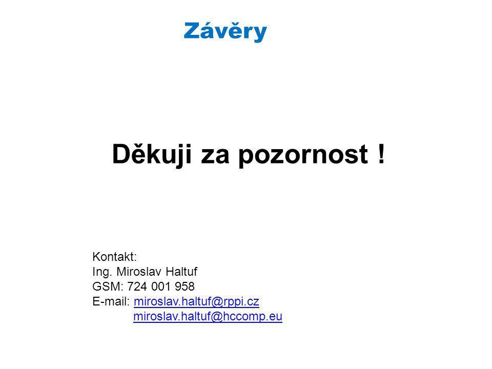 Závěry Děkuji za pozornost . Kontakt: Ing.